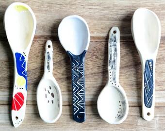 Handmade ceramic spoons, rustic spoons, spoons, wabi sabi spoon,organic scoop spoon,condiment spoon,sugar spoon,handmade spoons, foodie gift