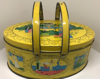 1950s GAY NINETIES Lunch pail tin. Box lunch? Bright lithographed tin lunch box Mid Century Modern with a turn of the 20th century twist