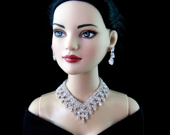 "Doll jewelry necklace for Tonner American Model, BJD,  and other 22"" fashion dolls,  by SohoDolls, necklace and earrings"