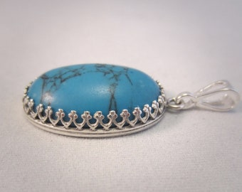 925 Sterling silver pendant with turquoise Howlite, turquoise Howlite