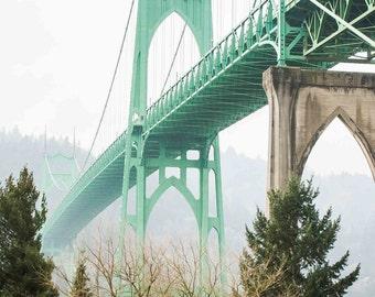 Steinman's Baby - St John's Bridge Portland, Oregon Photographic Print