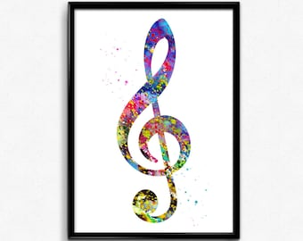 Treble Clef, Musical Symbol, Colorful Poster, Room Decor, gift, printable wall art (338)