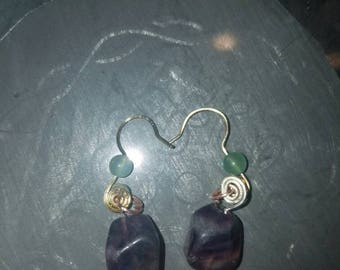 Rainbow Flourite earrings.