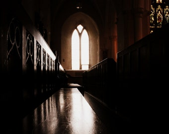 Church Photography - Light and Dark Fine Art Photograph - Old Irish Church Print - Cathedral Photograph - Northern Ireland - 8x12