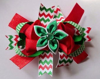 "5"" Red Green and White Chevron Christmas Sparkle Layered Hair Bow"