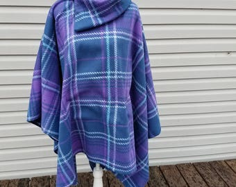 Purple Plaid Fleece Poncho