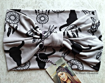Dreamcatcher Turban WRAPsody Head Wrap Headband in Gray and Black Buffalo Arrow Print Ear Warmer Headcover Half Wrap Chemo Cover