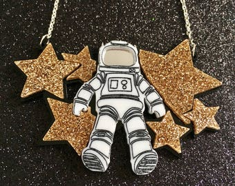 Laser Cut Astronaut Glittery Space Statement Acrylic Necklace