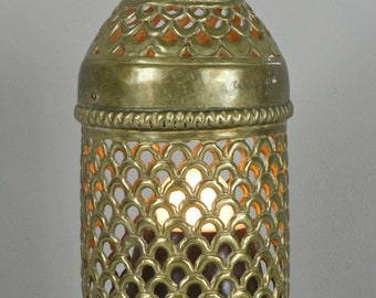 Nice Vintage Brass Lantern Lamp India Accent Lamp Nite Lite Antique Table Lamp  Moroccan Asian Lamp