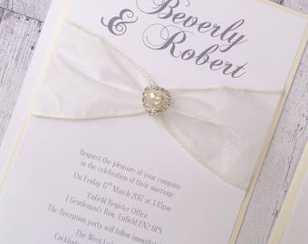 Organza ribbon and Faux Pearl and Diamante Heart Embellishment Wedding Invitation with RSVP Cards with envelopes