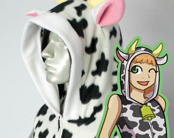 Cow Hoodie, Costume, Cosplay, Adult Size, Hand-made