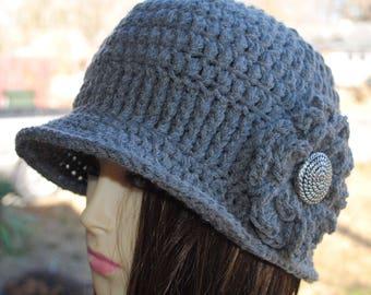 Handmade Womans Crochet cloche bucket flapper hat 22 to 24 Grey
