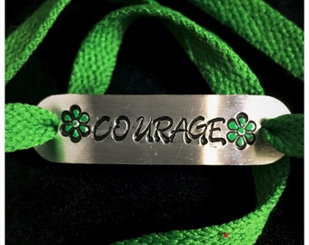 Courage shoelace tag