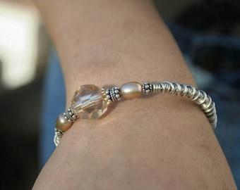 Coiled Silver Bracelet with Focal Swarovski Bead