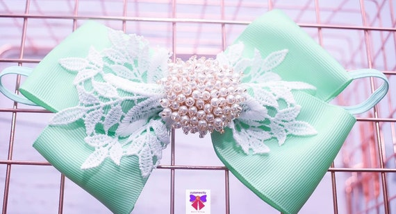 White and Mint Layered Bow with Rhinestone - Baby / Toddler / Girls / Kids Headband / Hairband / Hair bow / Barette / Hairclip
