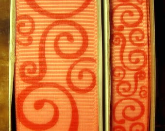 "2 Yards 3/8"" or 7/8"" US Designer Blush - Coral w/Red Scroll - Swirl Print Grosgrain Ribbon"