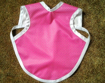 Waterproof Bapron / The Baby Apron / Bib / Smock - 6-18 months Hot Pink with white dots