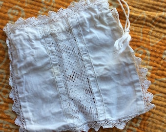 Sweet Drawnstring Purse White with Lace