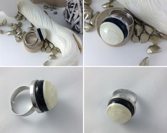 Adjustable size ring crimping flat stainless steel flat ivory black hand spun glass transparent cabochon Pearl
