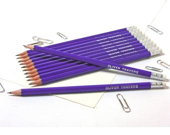 High Quality Personalised Pencils -Printed with Name - BRIGHT PURPLE (plus other colours)