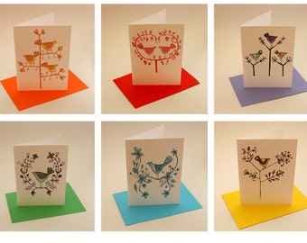 Pack of six greeting cards - Beautiful Birds