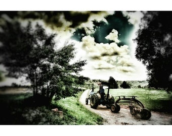 "12"" x 18"" Country Road Tractor Tree Canvas Print"