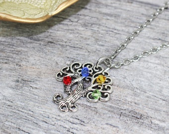 Personalized Wire Wrapped Family Tree Necklace in Stainless Steel and Swarovski Crystal