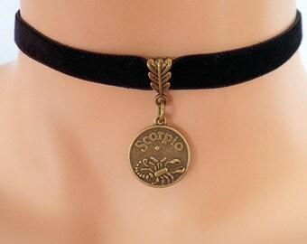 black velvet choker, scorpio choker, scorpio necklace, stretch ribbon, zodiac charm, antique bronze
