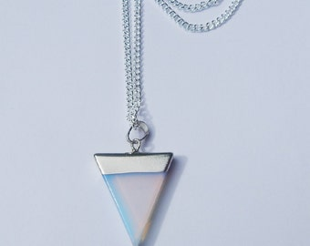 Opalite Triangle Crystal Necklace, Opalite Crystal Necklace, Opalite Crystal Pendant, Crystal Choker, Healing Crystal, Triangle Necklace