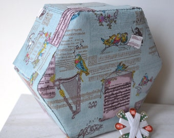 Hexagonal Sewing Box - Hand Made Fabric Covered Cartonnage -Birds and Music