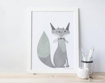 fox, nursery art print,  Giclee Art Print, woodland, archival art print