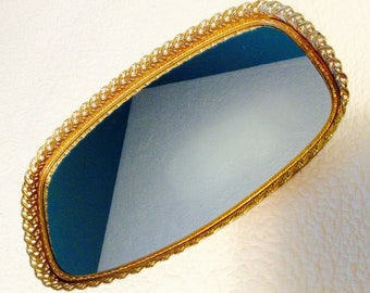 "Vintage Gold Filigree Dresser Mirror Tray Vanity Tray 14.5"" Gold Plated Footed 1960s"