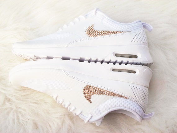 Get the gold on Sale Women's Nike Air Max Thea Running Shoes white on white  bling shoes swarovski gold crytstals wedding shoes prom shoes