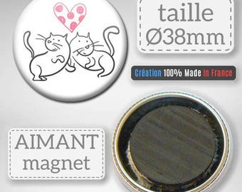 Magnet-magnet Badge 38 mm - cat lover heart Couple Cats Love Valentines Day gift