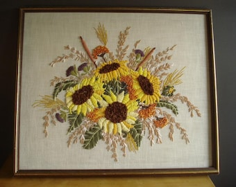 RESERVED Fall Bouquet - HUGE Vintage Crewel Floral Wall Art - Flowers in Yellow, Orange, Green, Purple - Sunflower Needlepoint