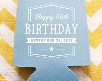 Birthday beer coolies, happy birthday party favors, Cheers to 50 years can coolers, custom bday party favors, beverage holders 25 qty