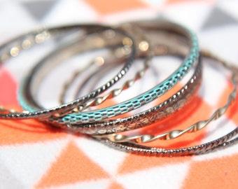 Mixed Lot of Antique Vintage Colourful Bangle Bracelets
