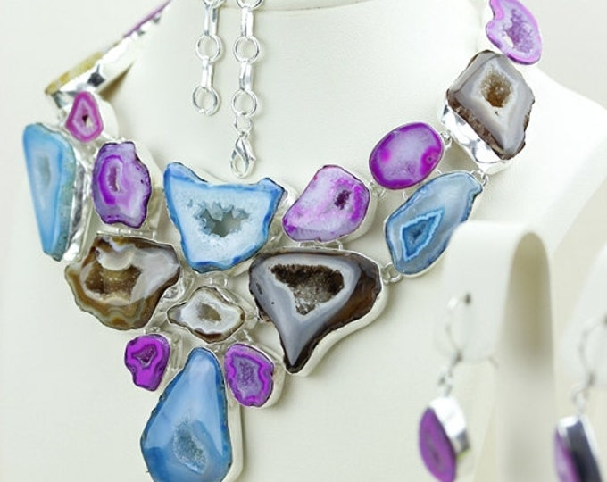 Glory Days! Pink and Blue Botswana Agate Drusy Druzy Stalactite 925 S0LID Sterling Silver Necklace N467