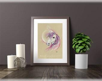 Unicorn Gift, Ready to Frame, Pink Unicorn, Unicorn Print, Unicorn Wall Art, Unicorn Birthday, Pink Unicorn Art, Unicorn Decor, Gift for her