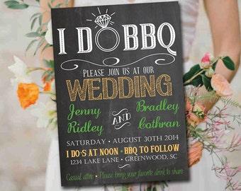 I DO BBQ Wedding Invitation Template Download - Chalkboard Invitation Green Orange 5x7 Wedding Printable - Rustic Wedding Download