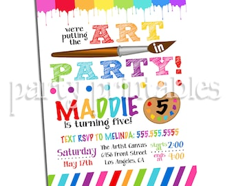Art Party Invitation, Art Birthday Party Invitation, Painting Party Invitation, Digital Download