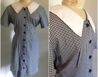 Sixties Peter Pan collar gingham vintage dress, size large 10 12 mini dress, gingham dress, dress with collar, vintage dress for women