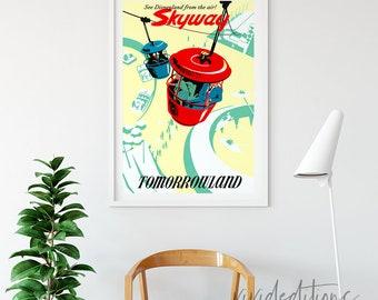 Disneyland Poster, Vintage Skyway Tomorrowland Attraction Poster, Art Print, Nursery, Kids Bedroom, Baby, Home Decor, Wall Art, Not Framed