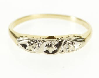 14k Retro Two Tone Patterned Wedding Band Ring Gold
