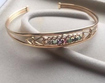 Stunning 9ct multi gem bangle