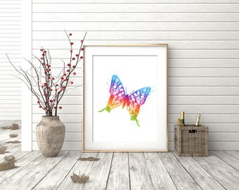 Butterfly Print - Watercolor Butterfly Print - Butterfly Art - Butterfly Watercolor Art - Butterfly Decor - Watercolor Prints