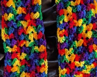 Rainbow Crocheted Scarf