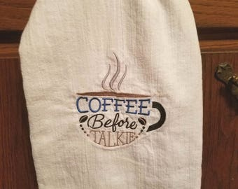 Flour sack kitchen towel with coffee design