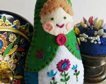 Handmade Felt Matryoshka Doll - Embroidered Kelly Green Turquoise Magenta - Green Eyes - Heirloom Style - Russian Baby Doll - OOAK