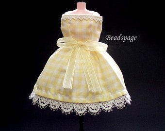 Blythe Dress Doll fashion Outfit Clothing (also for Licca, DAL, Pullip) - Sweet Yellow Checkered Lolita Party Kawaii Cute